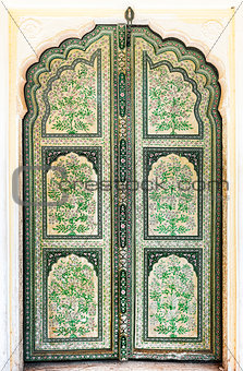 A Hand Painted Old Doors inside Hawa Mahal.