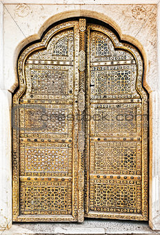 Old Golden Doors of the Hawa Mahal.