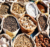 Variety of spices in local market in Pushkar