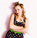 Pretty Retro Cleaning Lady On Polka Dot Background