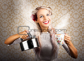 Vintage Coffee Woman Holding Hot Tea Pot