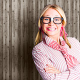 Funny Retro Female Nerd Girl With Dorky Smile