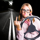 Angry Business Woman Expressing Road Rage