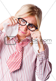 Isolated Sad Business Woman Crying Into Tissue