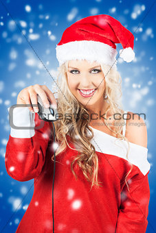 Female Santa Claus Christmas Shopping Online
