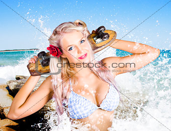 Active Sexy Summer Beach Babe With Skateboard