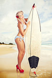 Sexy Sixties Pinup Surfer Girl At Vintage Beach