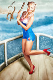 Beautiful Pinup Woman On Sightseeing Travel Cruise