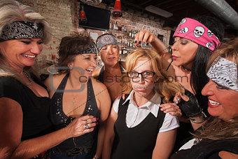Cruel Women Teasing Nerd
