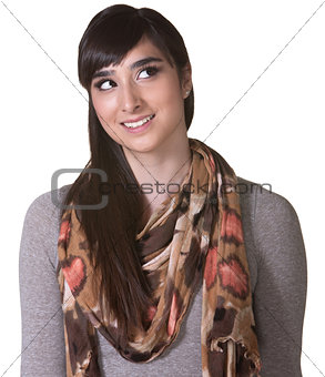 Young Hispanic Woman Looking Up