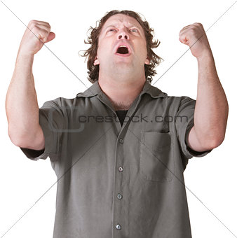 Emotional Man with Fists Up