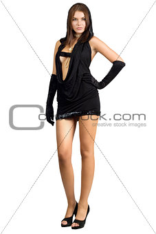Attractive leggy woman in black dress