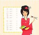 beautiful Asian girl enjoy sushi - menu template