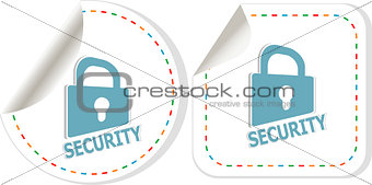 Padlock sticker icon set. ultimate security concept