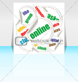 business word collage background. Illustration with different association terms
