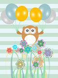 birthday party card with cute birds, owls and flowers