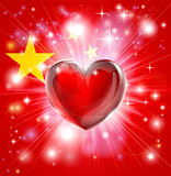 Love China flag heart background