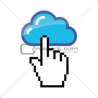 Blue cloud with cursor hand vector icon
