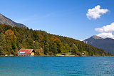 Walchensee lake and autumn forest