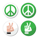 Peace, hand sign vector icons set