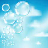 soap bubbles on heaven background