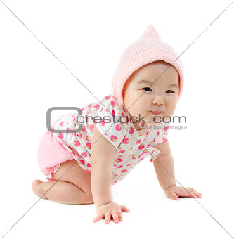 Six months old East Asian baby girl