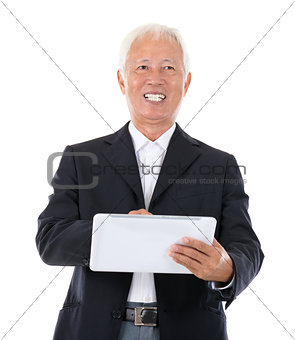 Chinese boss using tablet-pc
