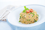 Chinese egg fried rice on dining table