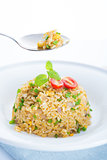 Delicious Chinese egg fried rice on dining table