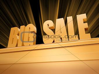 big sale over golden pedestal
