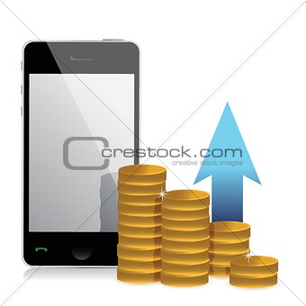 mobile phone and coins