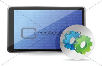 one tablet pc with gears, processing concept