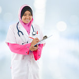 Southeast Asian Muslim medical student.