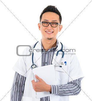 Asian medical doctor with tablet computer