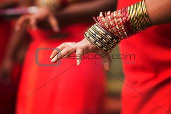 Hindu devotee's hand