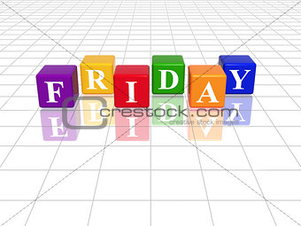 friday in 3d coloured cubes