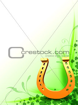 3d golden horseshoe with clovers