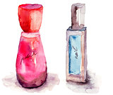 Coloured nail polish bottles