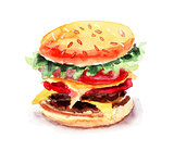 Watercolor illustration of Hamburger
