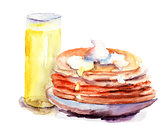 Pancakes stack with juice