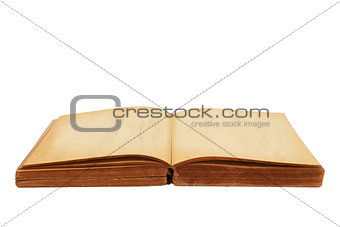 Opened old book isolated white background