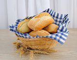 Fresh bread in a basket with a napkin shelter