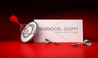 Target Market and Communication Sign, Red Background