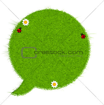 Gresh green grass speech bubble. Vector illustration