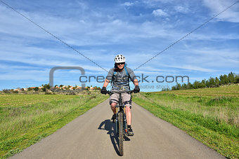 Mountain biker village at background