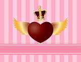 Flying Heart with Wings and Crown on Pink Background