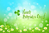Saint Patricks Day with Flowers and Shamrock