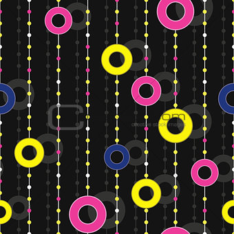 seamless pattern with colorful circles on thread
