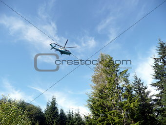 Beautiful sky view of Helicopter taking off