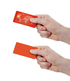 set of hands holding credit card and blank one